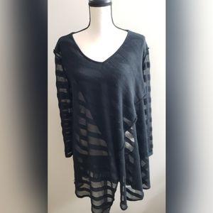 Free People Black Draped Sheer Poncho Sweater S